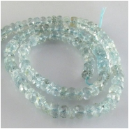 Aquamarine faceted rondelle gemstone beads (N) Approximate size 4 to 5.7mm 13.75 inch Graduated one direction