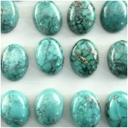 4 Turquoise Hubei oval cabochon gemstones (S) Approximate size 7 x 9mm