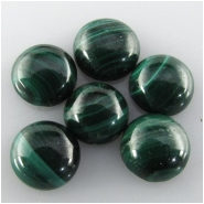 6 Malachite round gemstone cabochons (N) Approximate size 6.1 to 6.3mm