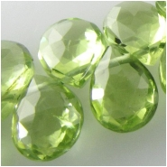 4 Peridot faceted drop briolette gemstone beads (N) Approximate size 4.5 x 6mm to 5 x 6mm