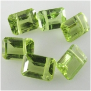 2 Peridot faceted octagon step cut rectangle briolette gemstone beads (N) Approximate size 4.8 x 6.8mm to 5.1 x 7.2mm