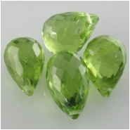 1 Peridot AAA faceted tear drop briolette gemstone bead (N) Approximate size 6.5 x 9mm to 6.9 x 9.9mm