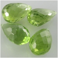 1 Peridot AAA faceted tear drop briolette gemstone bead (N) Approximate size 6.1 x 10mm to 6.5 x 10.9mm