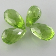 1 Peridot AAA faceted tear drop briolette gemstone bead (N) Approximate size 6 x 11mm to 6.2 x 11.9mm