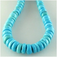 Turquoise Sleeping Beauty Zachery processed graduated rondelle gemstone beads Approximate size 4.1 to 6.1mm 18 inch