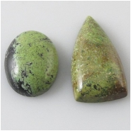 2 Gaspeite cabochon gemstones (S) Approximate size 12 x 17mm and 12 x 25mm