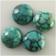 2 Turquoise Hubei round cabochon with matrix loose cut gemstones (S) Approximate size 10mm x 3.4 to 5mm deep