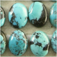 4 Turquoise Hubei oval cabochon with matrix loose cut gemstones (S) Approximate size 6 x 8mm x 2.8 to 3mm deep