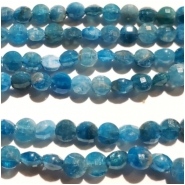 Apatite Diamond Cut Faceted Coin Gemstone Beads (N) Approximate size 4.64 to 4.86mm, 7.75 inches