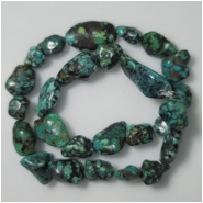 Turquoise Hubei Nugget Gemstone Beads (DS) Approximate Size 11.7 x 11mm to 16.7 x 30mm 16.25 inches