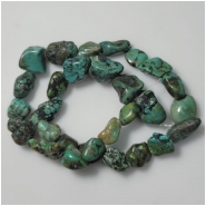 Turquoise Hubei Nugget Gemstone Beads (DS) Approximate Size 11.5 x 11.2mm to 18.4 x 20.9mm 16 inches