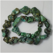 Turquoise Hubei Nugget Gemstone Beads (DS) Approximate Size 9.1 x 10.3mm to 18.2 x 24mm 16.25 inches