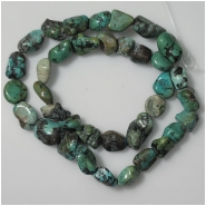 Turquoise Hubei Nugget Gemstone Beads (DS) Approximate Size 10 x 10.8mm to 10.9 x 17.8mm 16 inches