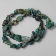 Turquoise Hubei Nugget Gemstone Beads (DS) Approximate Size 8.3 x 7.1mm to 11.2 x 19mm 15.75 inches