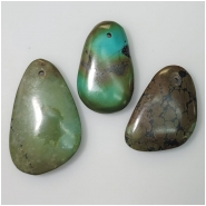 3 Turquoise Hubei Gemstone Pendants (N) Approximate Size 18.2 x 29.8mm to 22.6 x 34.2mm