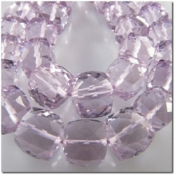 1 Pink Amethyst faceted irregular cube gemstone bead (H) approx 7mm CLOSEOUT