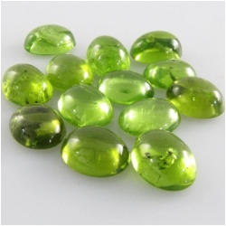 1 Peridot plain oval loose cut gemstone cabochon (N) approximately 7 x  9mm CLOSEOUT