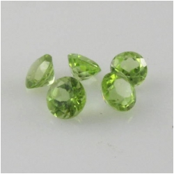 5 Peridot faceted round loose cut gemstones (N) 4mm CLOSEOUT