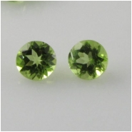 2 Peridot faceted round loose cut gemstones (N) 5mm CLOSEOUT