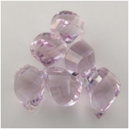 1 Amethyst pink faceted AA twist tear drop gemstone bead (N) Approximate size range 6.6 x 10.2mm to 7.3 x 11.9mm   CLOSEOUT