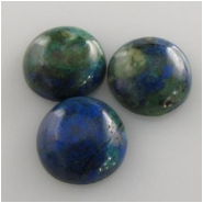 3 Azurite with malachite round loose cut gemstone cabochons (S) Approximately 10mm