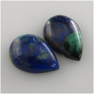 2 Azurite with malachite pear drop loose cut gemstone cabochons (S) Approximately 9 x 13mm