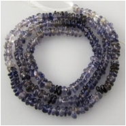 Iolite varigated rondelle gemstone beads (N) Approximate size range 3.5 to 3.8mm 14 inch