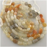 Moonstone multi color irregular oval gemstone beads (N) Approximately 6 x 7.5mm to 7 x 10mm 13.5 inch