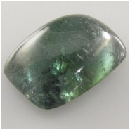 1 Tourmaline aqua blue green rectangle loose cut gemstone cabochon (N) 10 x 13.9 x 5.4mm thick. One only.   CLOSEOUT