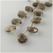 Smoky Quartz faceted briolette gemstone beads (H) Approximate size 10 x 13mm 15.5 inch