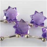 1 Amethyst AA faceted star briolette gemstone bead (H) Approximate size 10.2 x 10.3mm to 10.6 x 10.6mm