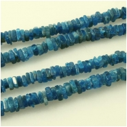 Apatite blue flat square gemstone beads (N) Approximate size 3.7 to 5mm  8 inch