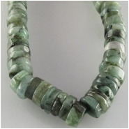 Emerald hand cut rondelle disc gemstone beads (O) Approximate size 4.6 to 5.5mm 8 inch