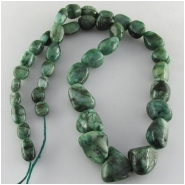 Emerald graduated nugget gemstone beads (OD) Approximate size 6 x 9mm to at least 12 x 15mm 18 inch