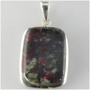 1 Eudialyte in sterling silver pendant gemstone bead (N) Approximate size including bale 18 x 37 x 5.1mm deep
