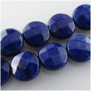 6 Lapis faceted coin gemstone beads (N) Approximate size 10.2 to 10.4mm