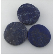 1 Lapis rustic matte finish irregular coin pendant gemstone bead (N) Approximate size 36 to 39mm side drilled