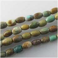 Turquoise Maan Shan irregular barrel gemstone beads (S) Approximate size 4.5 x 6mm 15.2 inch Mainly host stone