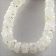 Moonstone hand cut faceted rondelle gemstone beads (N) Approximate size 6.5 to 7.5mm 14 inch some flash