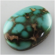 1 Turquoise Royston AAA cabochon gemstone (N) Approximate size 12 x 16 x 4.7mm deep Backed