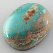 1 Turquoise Royston cabochon gemstone (N) Approximate size 16 x 22 x 7.8mm deep Backed