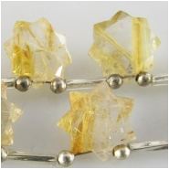 1 Rutilated Quartz AA faceted star briolette gemstone bead (N) Approximate size 11.3 x 11.5mm to 11.9 x 11.9mm