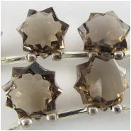 1 Smoky Quartz AA faceted star briolette gemstone bead (N) Approximate size 10.5 x 10.8mm to 11.5 x 11.5mm