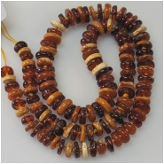 Baltic Amber Multicolor Graduated Disc Gemstone Beads (N) Approximate Size 6.78 to 10mm 18.75 inches