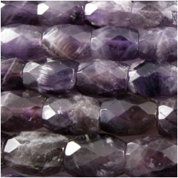 Amethyst faceted barrel tube gemstone beads (N) 8 x 10mm CLOSEOUT
