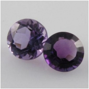 2 Amethyst faceted round loose cut gemstones (N) 6mm CLOSEOUT