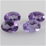 4 Amethyst faceted oval loose cut gemstones (N) 4 x 6mm CLOSEOUT