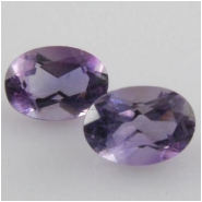 2 Amethyst faceted oval loose cut gemstones (N) 5 x 7mm CLOSEOUT