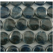 17 Apatite neon blue coin gemstone beads (N) Approximately 11.5mm