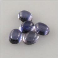 5 Iolite oval cabochon loose cut gemstones (N) Approximately 3 x 4mm